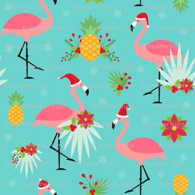 Tropical Christmas - Flamingo Santas