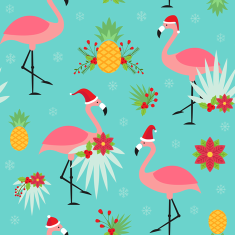 Tropical Christmas - Flamingo Santas fabric by heatherhightdesign on Spoonflower - custom fabric