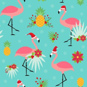 Tropical Christmas - Flamingo Santas