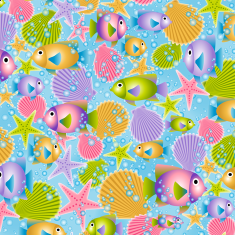 Deep Blue Sea (sm) fabric by jjtrends on Spoonflower - custom fabric