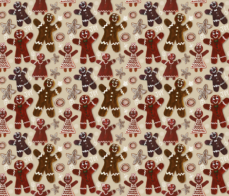 Gingerbread Party - Beige fabric by jantetsutaniart on Spoonflower - custom fabric