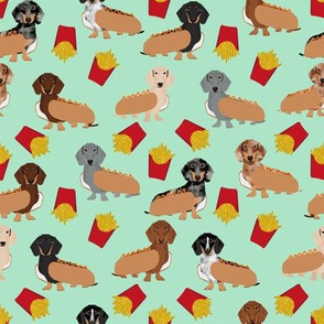 doxie hot dogs and fries fabric cute mint dachshund fabrics funny cute dog design
