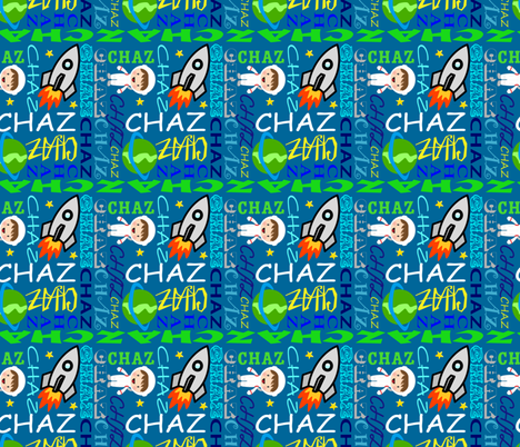 Rocket Ship in Space-Name Art fabric by pharmgirlkat on Spoonflower - custom fabric