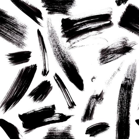Black brush strokes fabric by sylviaoh on Spoonflower - custom fabric