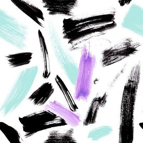 Black, Mint and Purple brush strokes