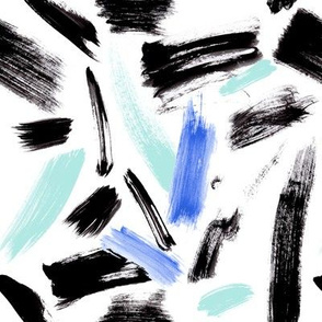 Black, mint and blue brush strokes