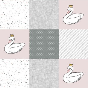 sleepy swan princess patchwork quilt top