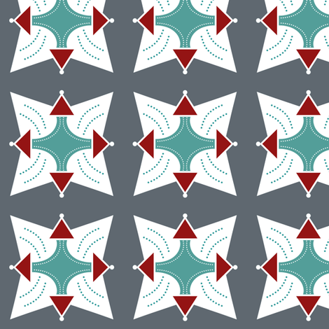 Geo2cool_grey_red_teal fabric by sewindigo on Spoonflower - custom fabric