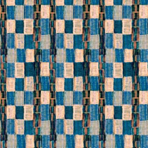 Interrupted Checkerboard (blue, cream, and rust)