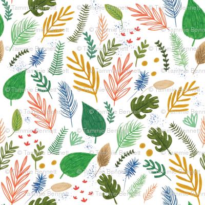hand drawn leaf and fern