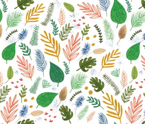 hand drawn leaf and fern fabric by tammiebennett on Spoonflower - custom fabric
