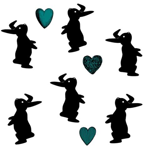 Bunny  hearts aqua fabric by namümade on Spoonflower - custom fabric