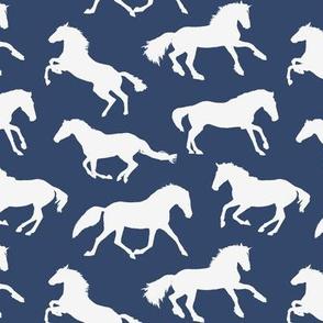 Navy / Off White Horses