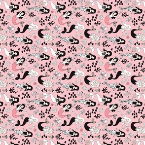 Sweet little mermaid girls theme with deep sea ocean coral illustration details pink black and white rotated flipped XXS