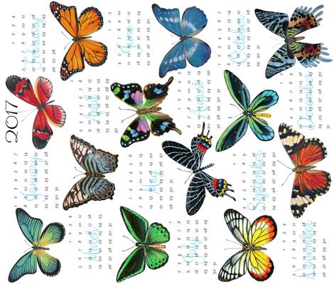 Butterfly tea towel calendar 2017 fabric angelaanderson for Using fabric paint on glass