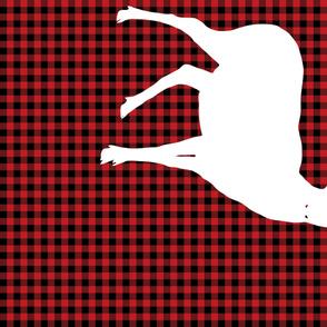 Plaid Black and Red Deer Large Blanket