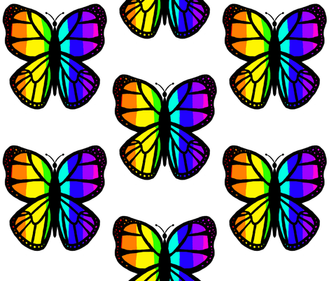 Rainbow Butterfly 2 fabric by essieofwho on Spoonflower - custom fabric