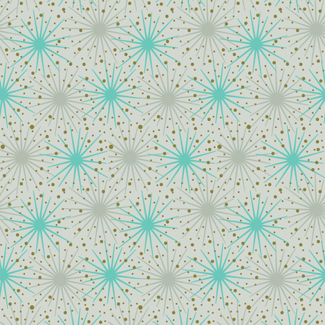 Starbursts in Beige fabric by mintgreensewingmachine on Spoonflower - custom fabric