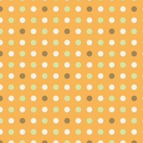 Small Orange With Green Dots Pattern