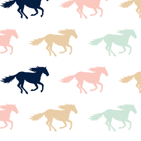 multi wild horses  || the briar woods collection fabric by littlearrowdesign on Spoonflower - custom fabric