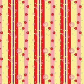 Bright Strawberry Swirl Stripes Pattern - Small