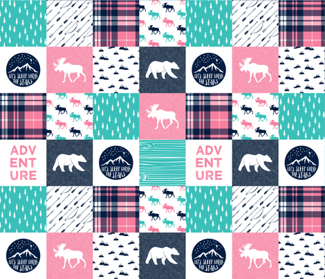 happy camper wholecloth || glacier + hot pink fabric by littlearrowdesign on Spoonflower - custom fabric