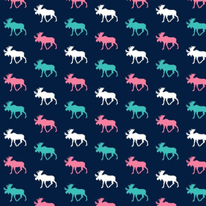 multi moose (small scale) || glacier + hot pink on navy