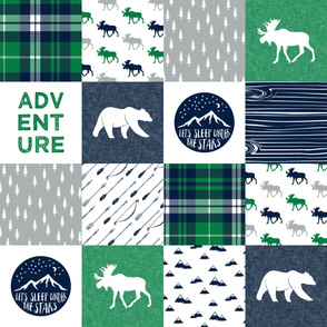 the happy camper wholecloth || navy and green