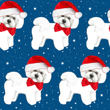 Santa // Christmas dog,  Bichon Frise // dog // with red bow and santa hat fabric by magentarosedesigns on Spoonflower - custom fabric