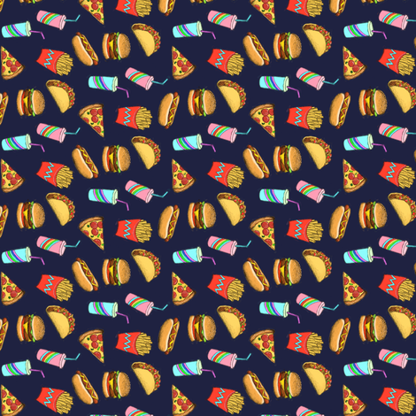 Painted Fast Food on Navy blue small, horizontal fabric by micklyn on Spoonflower - custom fabric