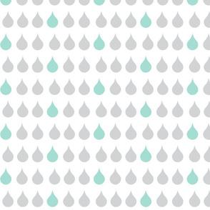 Raindrops - gray mint