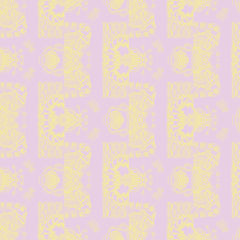 Whimsical Wayward  Stripes in Pastel Yellow on Lavender fabric by maryyx on Spoonflower - custom fabric