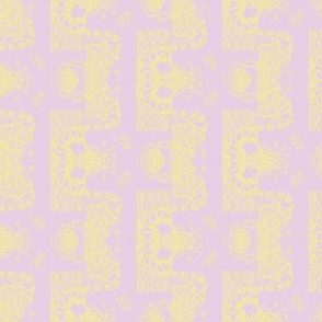 Pale Yellow on Lavender Whimsical Wayward Stripes