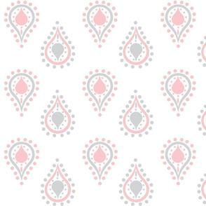 paisley raindrops - petal  gray