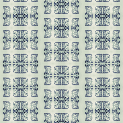 Father Christmas Squares Off, Steel Blue on Grey fabric by maryyx on Spoonflower - custom fabric