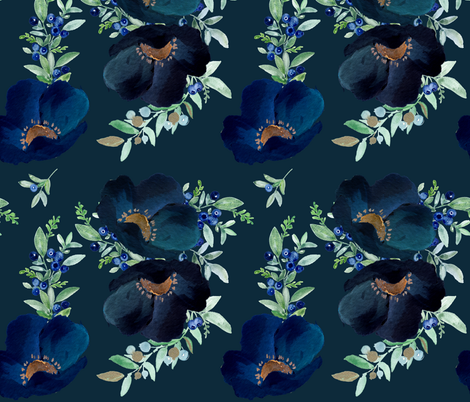 Blueberry Fields - Dark Blue fabric by shopcabin on Spoonflower - custom fabric
