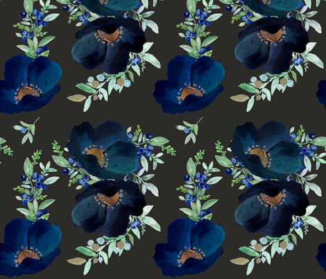 Blueberry Fields - Charcoal fabric by shopcabin on Spoonflower - custom fabric