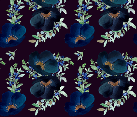 Blueberry Fields - Deep Purple fabric by shopcabin on Spoonflower - custom fabric
