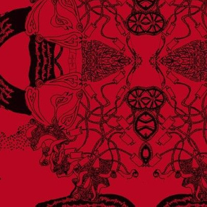 HHH7 - LG - B - Healing Arts Lace in Black on Rustic Red