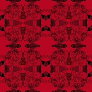 HHH7 - SM - B - Healing Arts Lace in Black on Rustic Red