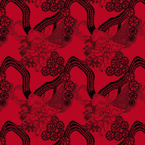 HHH7 - LG - A - Healing Arts Lace in Black on Rustic Red