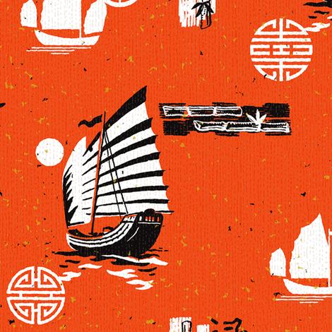 Tientsin Harbour 1a fabric by muhlenkott on Spoonflower - custom fabric