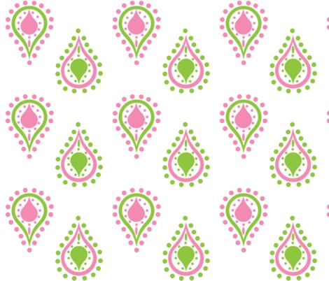 paisley raindrops -preppy pink fabric by drapestudio on Spoonflower - custom fabric