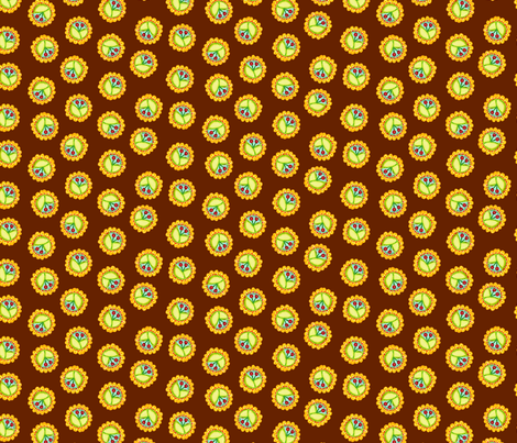 Cherry_Medallions_Brown fabric by beebumble on Spoonflower - custom fabric