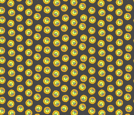 Cherry_Medallions_Charcoal fabric by beebumble on Spoonflower - custom fabric
