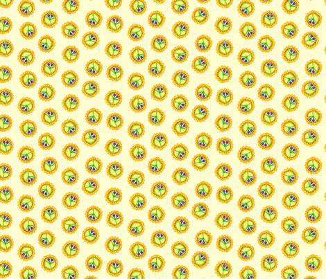 Cherry_Medallions_Cream fabric by beebumble on Spoonflower - custom fabric