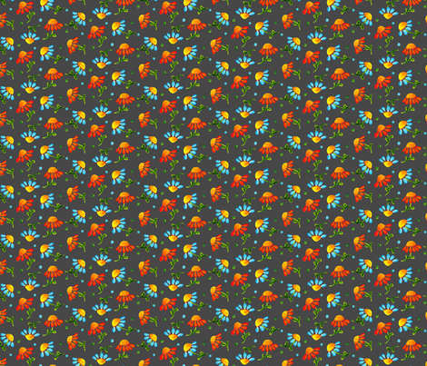 Daisies_Charcoal fabric by beebumble on Spoonflower - custom fabric