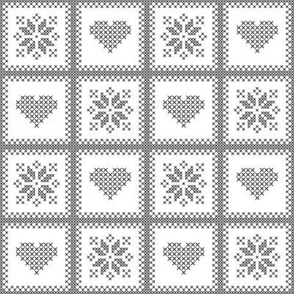 hearts and poinsettias gry/wht