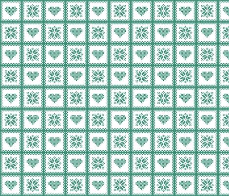 hearts and poinsettias grn/wht fabric by verergmatltd on Spoonflower - custom fabric