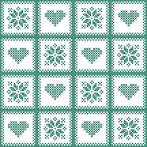 hearts and poinsettias grn/wht